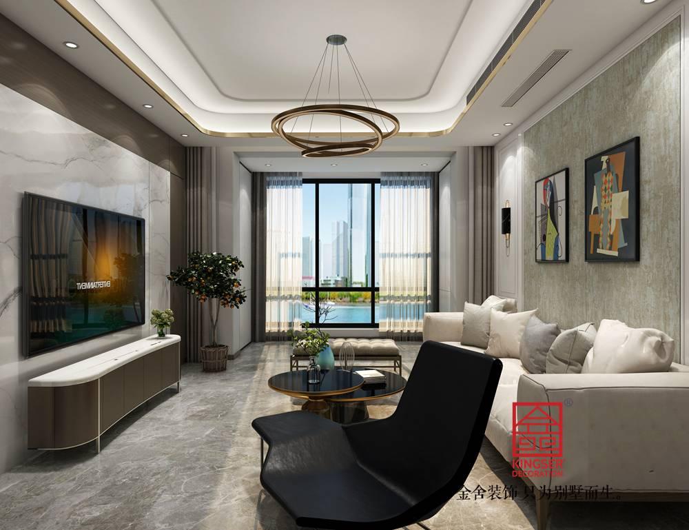 融创中心155平米港式轻奢风格装修-客厅