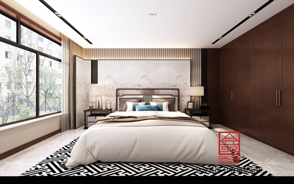 融创中心217平米中式风格装修-卧室