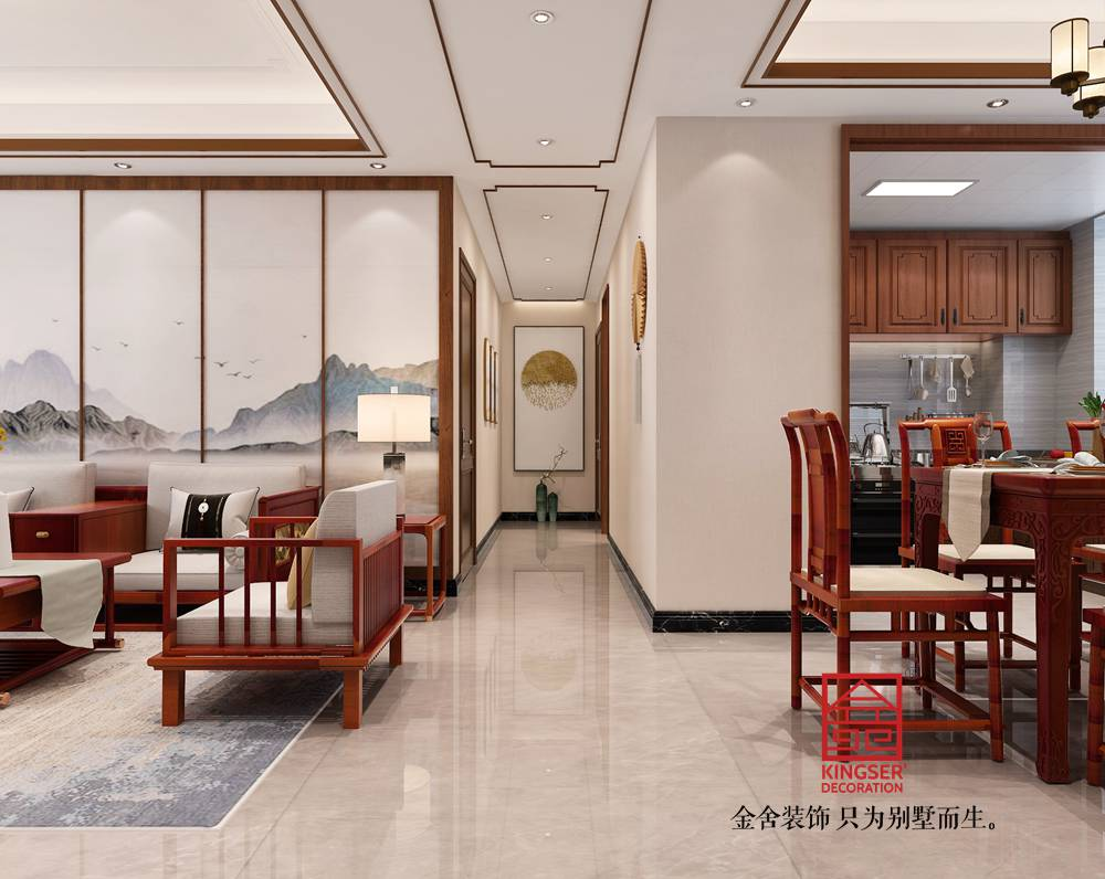 融创中心125平米新中式风格装修-玄关