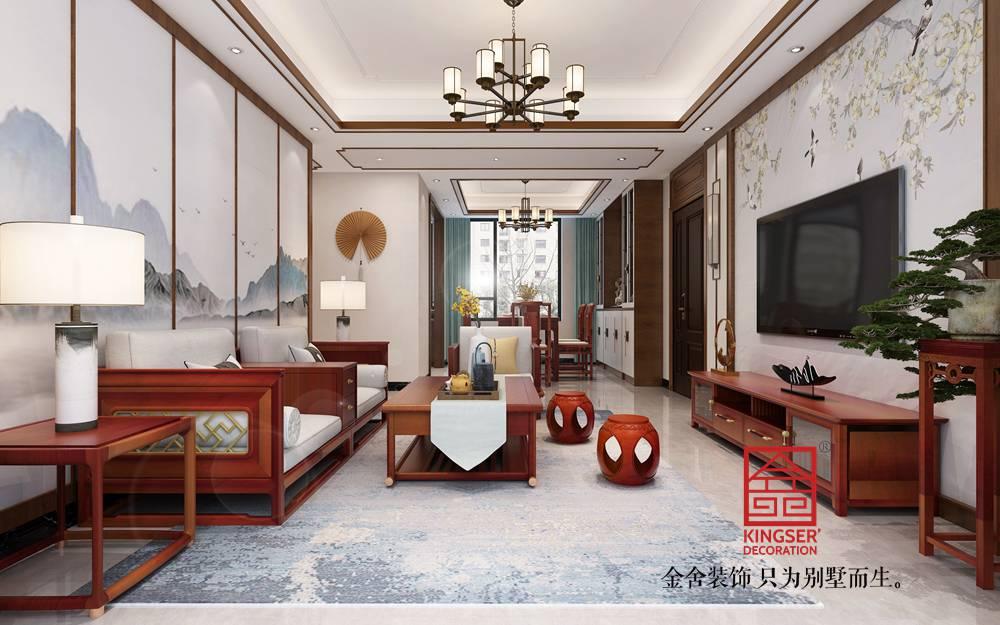 融创中心125平米新中式风格装修-客厅