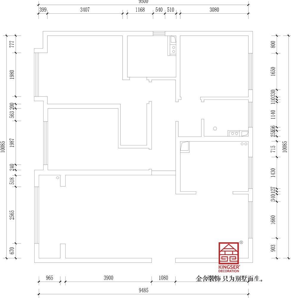 融创中心125平米新中式风格装修户型解析