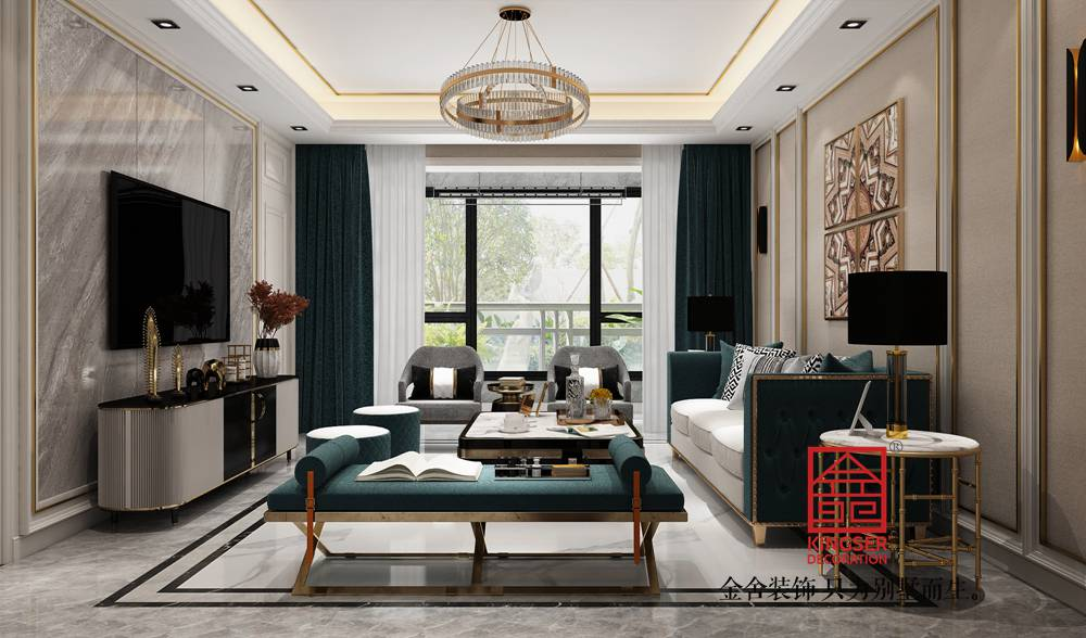 融创中心180平米美式轻奢-客厅