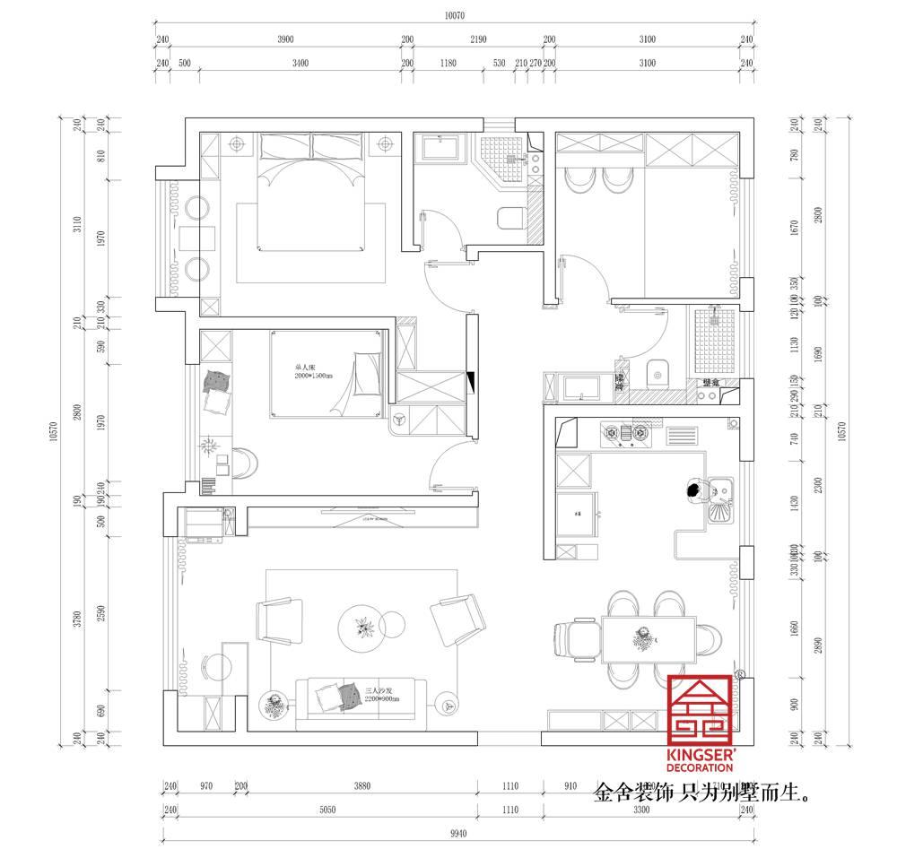 融创中心127平米现代轻奢风格装修户型解析