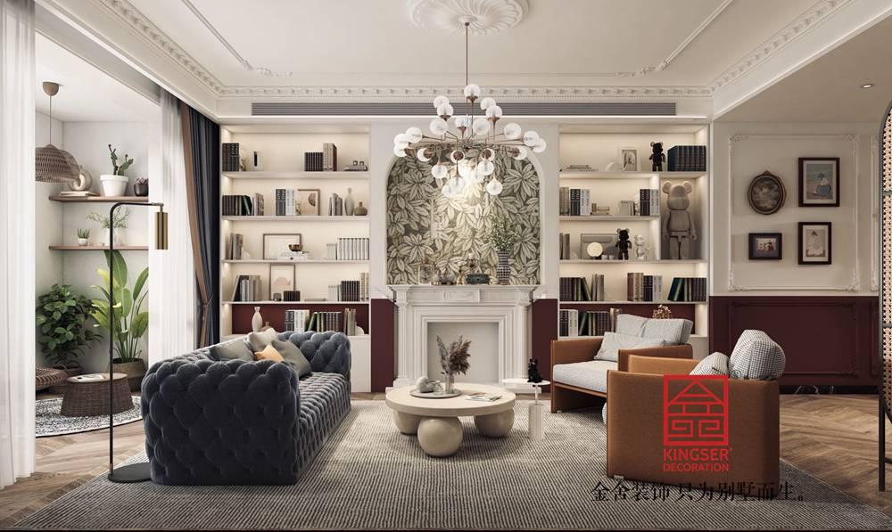 融创中心180平米法式复古装修-客厅
